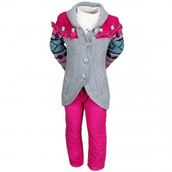 ENSEMBLE ENFANT VETEMENTS HIVER FILLE PANTALON ROSE + GILET + T SHIRT