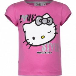 T SHIRT MANCHES COURTES HELLO KITTY ROSE