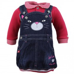 ENSEMBLE BEBE 2 PIECES LEE COOPER ROBE EN JEANS + PULL ROUGE