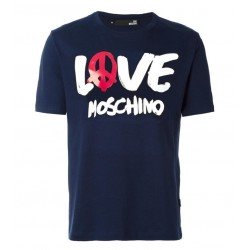 T SHIRT LOVE MOSCHINO LOGO PEACE BLEU