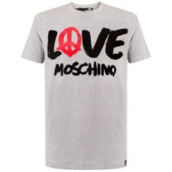 T SHIRT LOVE MOSCHINO LOGO PEACE GRIS