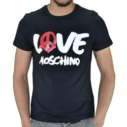 T SHIRT LOVE MOSCHINO LOGO PEACE NOIR