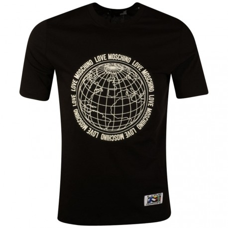 T SHIRT LOVE MOSCHINO GLOBE NOIR