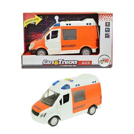 JOUET ENFANT AMBULANCE ORANGE A FRICTION SON ET LUMIERE 21 CM
